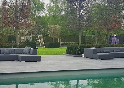 Dubbele lounge-set grijs zwembad